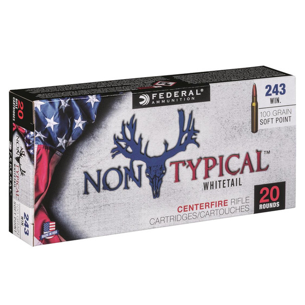FEDERAL Non Typical 243 Win 100Gr Soft Point Rifle Ammo (243DT100)