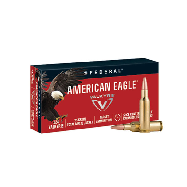 FEDERAL American Eagle 224 Valkyrie 75Gr TMJ Ammo 20Rd Box (AE224VLK1)