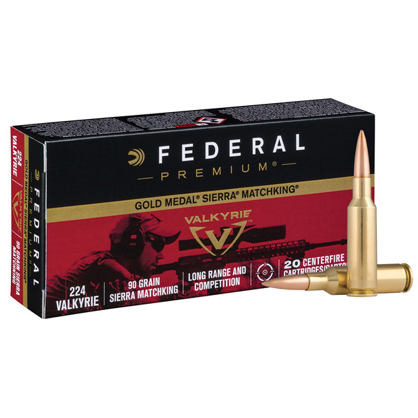 FEDERAL Gold Medal 224 Valkyrie 90Gr Boat-Tail Hollow Point Rifle Ammo (GM224VLK1)