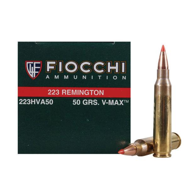 FIOCCHI 223 Rem. 50 Grain V MAX Ammo, 50 Round Box (223HVA)