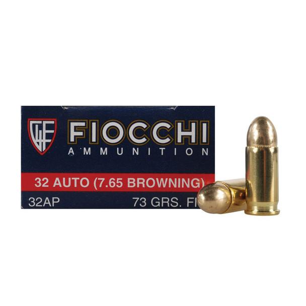 FIOCCHI 32 ACP 73 Grain FMJ Ammo, 50 Round Box (32AP)