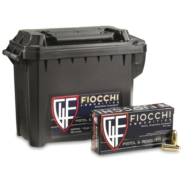 FIOCCHI 9mm 115Gr FMJ Rifle Ammo (9ARP200-CASE)
