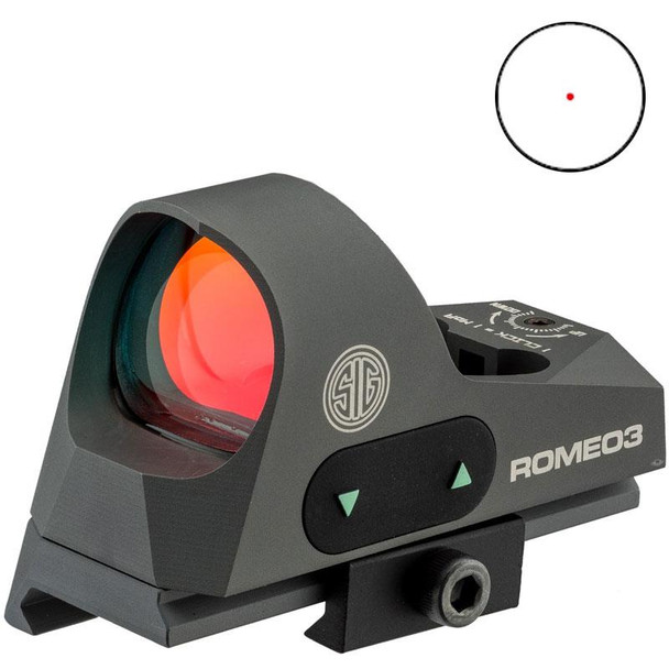 SIG SAUER Romeo3 Miniature 1x25mm Graphite 3 MOA Red Dot Reflex Sight (SOR31002)