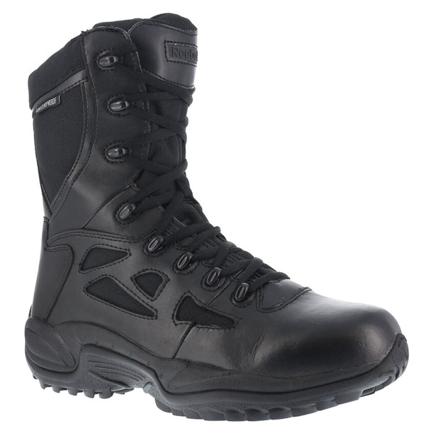 REEBOK Mens Rapid Response RB 8in Black Stealth Waterproof Boots with Side Zipper (RB8877)