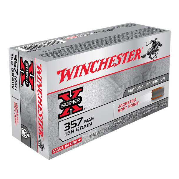 WINCHESTER Super-X 357 Mag 158Gr Jacketed Soft Point 50/500 Ammo (X3575P)