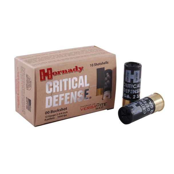 HORNADY Critical Defense 12 Gauge 2.75in 00 Buckshot Ammo, 10 Round Box (86240)
