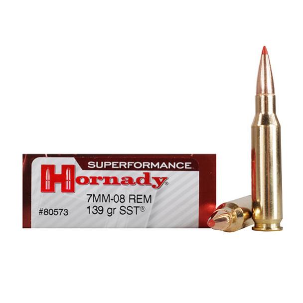 HORNADY Superformance 7mm-08 Rem. 139 Grain SST Ammo, 20 Round Box (80573)