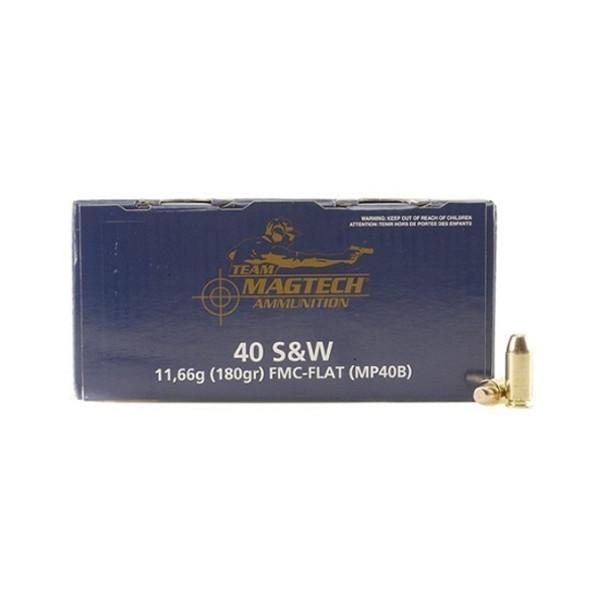 MAGTECH Shootin' Size 40 S&W 180 Grain FMJ Flat Ammo, 300 Round Box (MP40B)