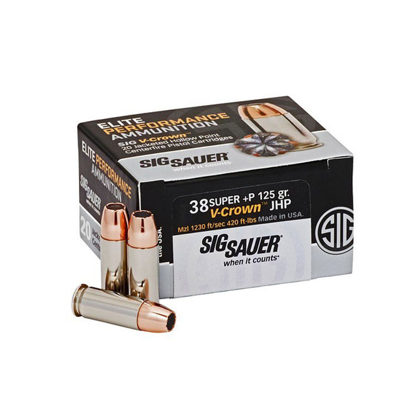 SIG SAUER Elite Performance 38 Super +P 125 Grain V-Crown JHP Ammo 20 Round Box (E38SU1-20)