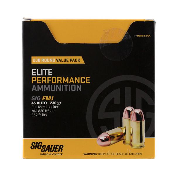 SIG SAUER Elite Performance 45 ACP 230 Grain FMJ Ammo 200 Round Box (E45BA3-200)