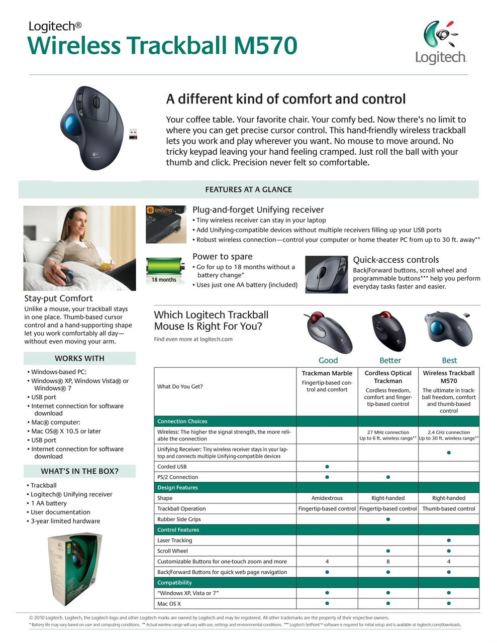 ebef3fff90d ... Logitech Trackman M570 Wireless Cordless Mouse with Trackball for  Windows, Mac OS - Black ...