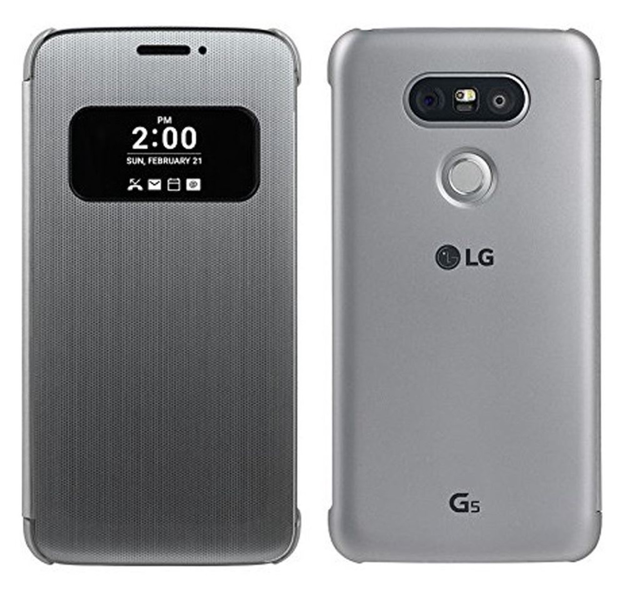 new product 267f6 63034 New Genuine Official LG Folio View Cover Flip Case for LG G5 - Silver