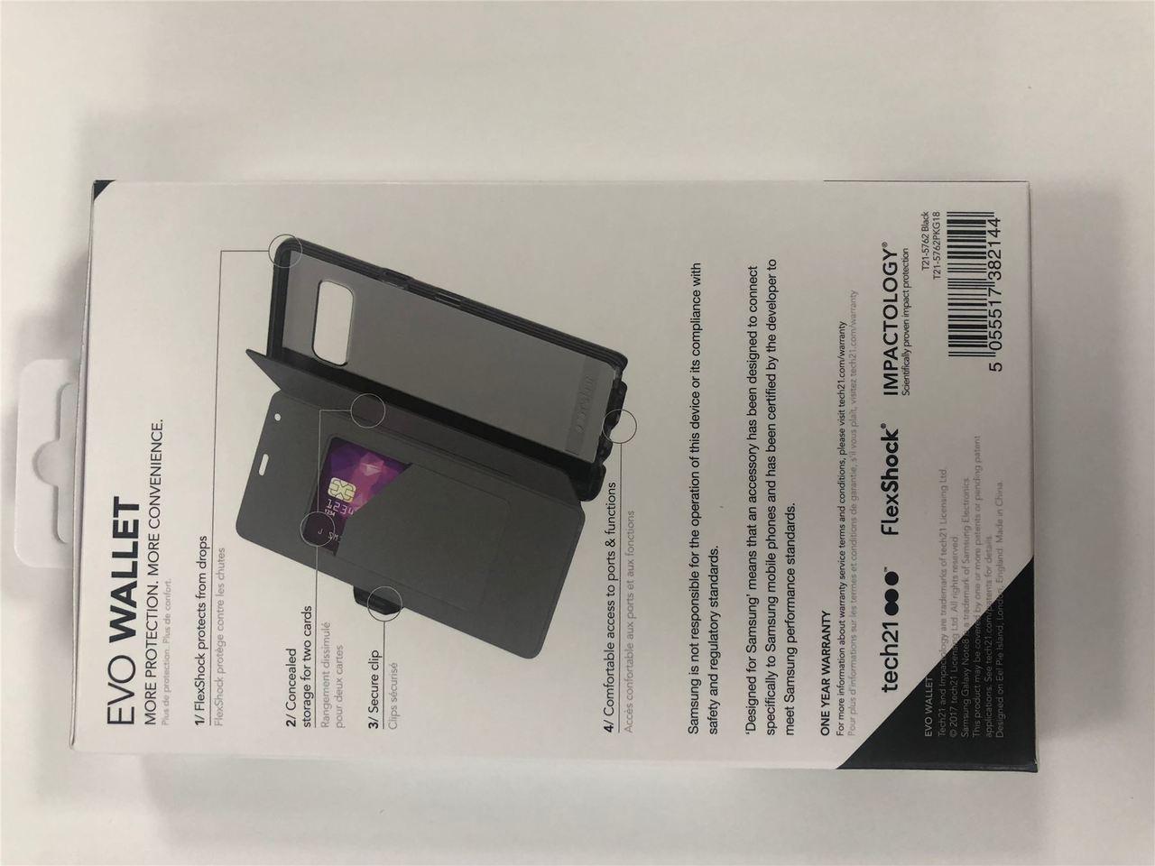 promo code e0f5d a5cec Tech21 Evo Wallet Flip Cover Card Holder for Samsung Galaxy Note 8 - Black