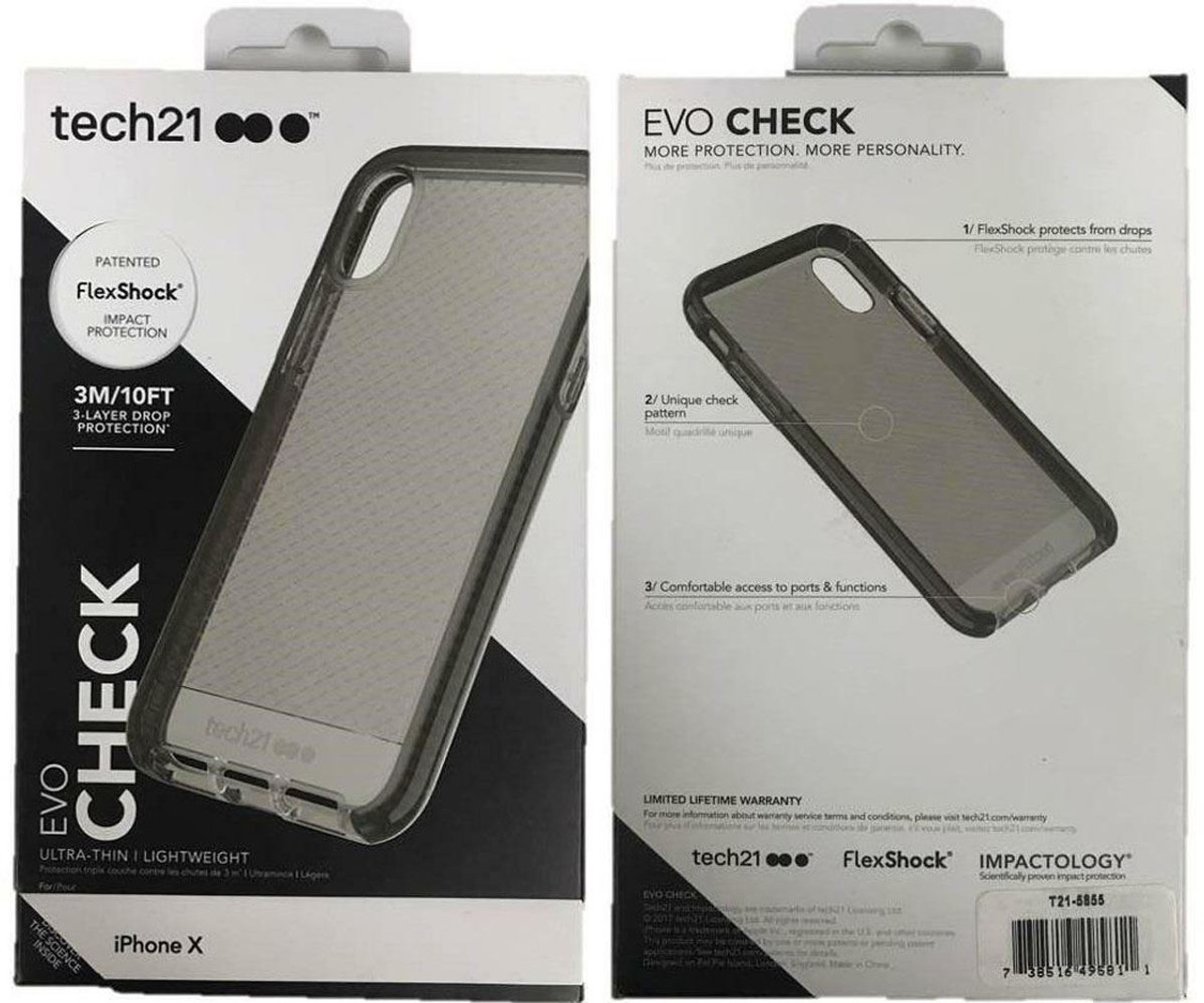 buy online 05143 3cd75 Tech21 Evo Check Case Cover for Apple iPhone X / iPhone XS - Smokey Black