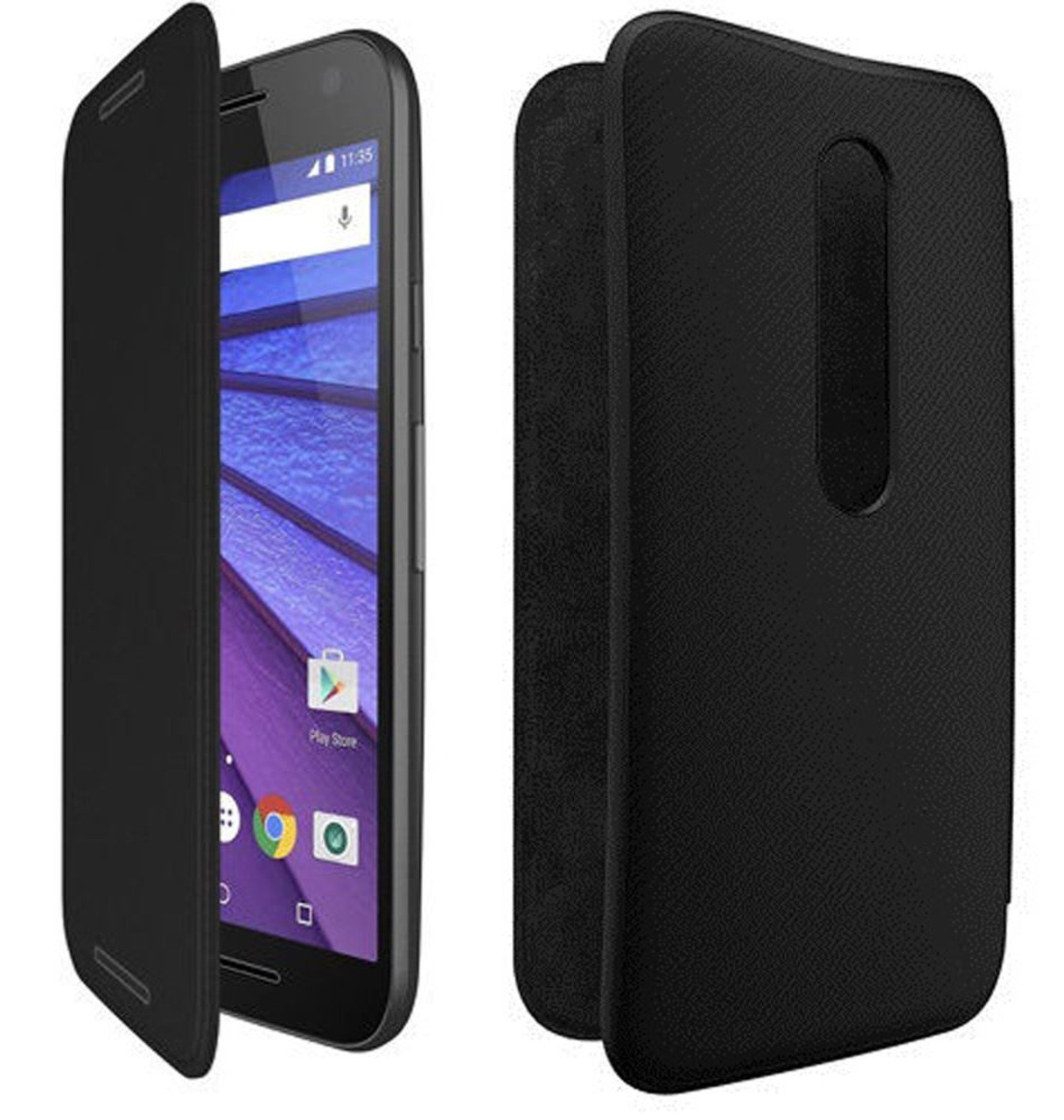 more photos 9324c 3b894 New Genuine Motorola Flip Case for Moto G 3rd Generation 2015 - Charcoal  Black