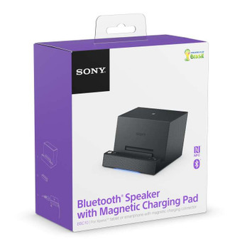 Official Sony BSC10 Bluetooth Speaker with Magnetic Charging Pad for Xperia Tablets and Smartphones - Black (UK Version)