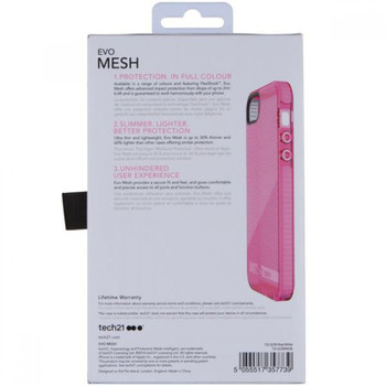 Genuine Tech21 Evo Durable Impact Resistant Case Cover with FlexShock Technology and Meshed Pattern for iPhone 5 / 5S / SE - Pink/White