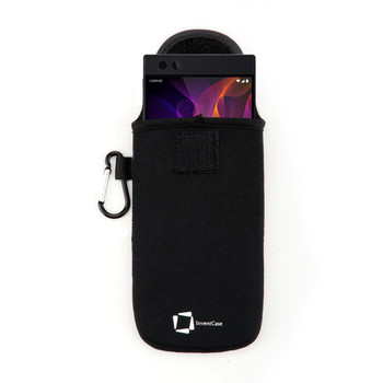 InventCase Neoprene Impact Resistant Protective Pouch Case Cover Bag with Fastening Tab Closure and Aluminium Carabiner for Razer Phone - Black