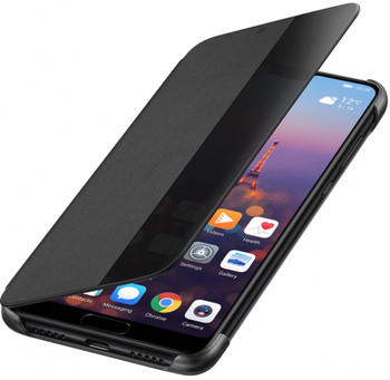 Genuine Huawei P20 Smart View Flip Cover Wallet with Sleep Wake Feature - Black