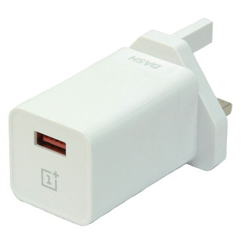 Genuine OnePlus Dash 4A 3 Pin UK Mains Charger Plug Adapter & Dash Type C USB Data Cable for OnePlus 3, 3T, 5, 5T and 6 - DC0504B4GB + D301 - White/Red - Bulk