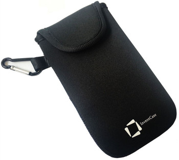 InventCase Neoprene Impact Resistant Protective Pouch Case Cover Bag with Secure Fastening and Aluminium Carabiner for Nokia 7.1 2018 - Black