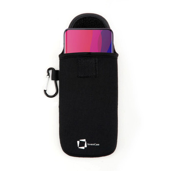 InventCase Neoprene Impact Resistant Protective Pouch Case Cover Bag with Secure Fastening and Aluminium Carabiner for OPPO Find X 2019 - Black