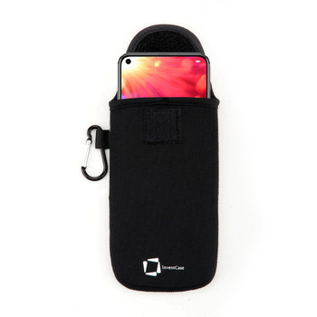 InventCase Neoprene Impact Resistant Protective Pouch Case Cover Bag with Secure Fastening and Aluminium Carabiner for Honor View 20 2019 - Black