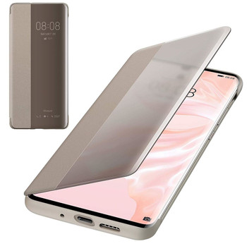 Genuine Official Huawei P30 Pro Smart View Flip Cover - Khaki (51992886)