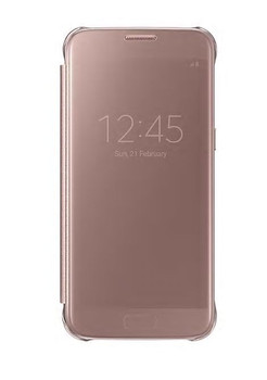 Genuine Samsung Clear View Cover Flip Case Wallet for Samsung Galaxy S7  - Pink Rose Gold