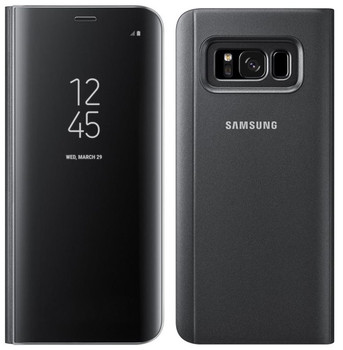 Official Samsung Clear View Standing Case Flip Cover for Samsung Galaxy S8 - Black (EF-ZG950CBEGWW)