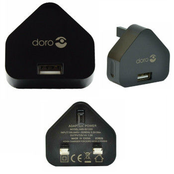 Official Doro UK 3 Pin Mains Adapter Charger Plug - Black - A85-501000