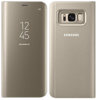 Genuine Official Samsung Clear View Standing Flip Case for Samsung Galaxy S8+ Plus - Gold (EF-ZG955CFEGWW)