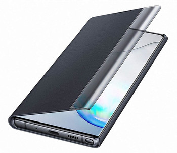 Genuine Official Samsung Clear View Standing Flip Cover Case for Samsung Galaxy Note 10+ / 10 Plus - Black (EF-ZN975CBEGWW)