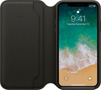 Official Genuine Apple Leather Folio Case Cover Wallet MQRVZM/A for iPhone X / iPhone XS - Black