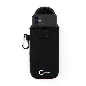 InventCase Neoprene Impact Resistant Protective Pouch Case Cover Bag with Secure Fastening and Aluminium Carabiner for Apple iPhone 11 2019 - Black