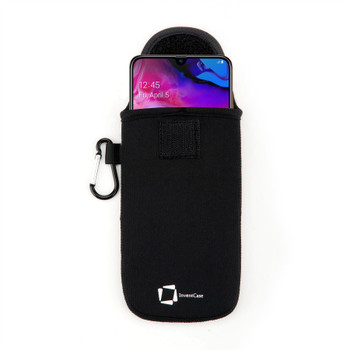 InventCase Neoprene Impact Resistant Protective Pouch Case Cover Bag with Secure Fastening and Aluminium Carabiner for Samsung Galaxy A70 2019 - Black