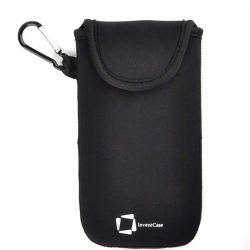 InventCase Neoprene Impact Resistant Protective Pouch Case Cover Bag with Secure Fastening and Aluminium Carabiner for Samsung Galaxy S20/S20+ 2020 - Black
