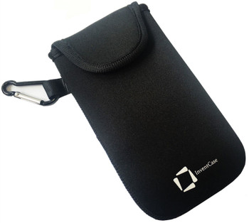 InventCase Neoprene Pouch Case Cover with Carabiner for Huawei P40 2020 - Black