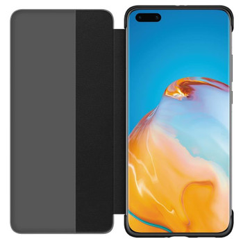 Official Huawei P40 Pro Smart View Flip Cover Wallet with Sleep Wake Feature - Black