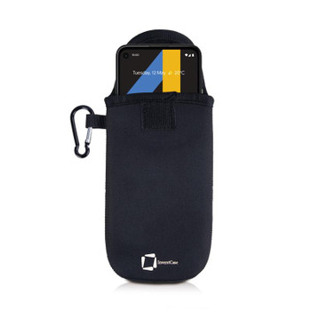 InventCase Neoprene Pouch Case Cover with Carabiner for Google Pixel 4a / 4a XL - Black