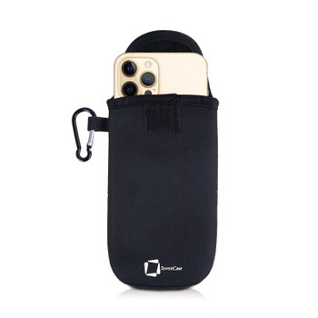 InventCase Neoprene Pouch Case Cover with Carabiner for Apple iPhone 12 Pro / 12 Pro Max - Black