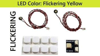 Brickstuff 2 Flickering Yellow Pico LED Light Boards with Adapter and Mounting Squares - LEAF01-PFLY-2PK