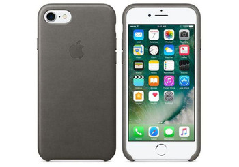 Official Apple Leather Case Cover for iPhone 8 - Storm Grey