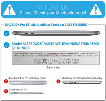 """InventCase Rigid Hard Case Cover for MacBook Pro 13"""" A1706 A1708 A1989 A2251 - Crystal Clear"""