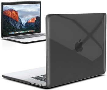 """InventCase Rigid Hard Case Cover for MacBook Pro 16"""" 2019 / 2020 A2141 Laptop - Crystal Clear Black"""