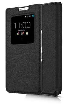 Genuine Official BlackBerry KEYone Smart Flip Case Wallet Cover - Black (FCB100)