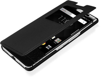 Genuine Official BlackBerry KEYone Smart Flip Case Wallet Cover - Black (FCB100)