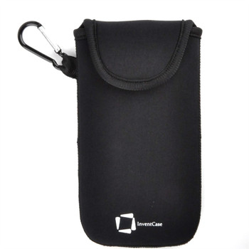 InventCase Neoprene Impact Resistant Protective Pouch Case Cover Bag with Velcro Closure and Aluminium Carabiner for BlackBerry Pearl 9105 - Black
