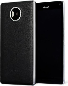 Genuine Mozo Qi Wireless Charging Back Cover Case with NFC for Microsoft Lumia 950 XL - Black / Silver - 950XLBBSWN