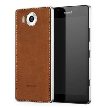 Mozo Microsoft Lumia 950 Qi Wireless Charging Back Cover Case with NFC - Cognac/Silver (950BCSWN)